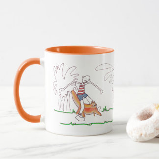 Cat and Boy Adventures Coffee Mug, Customizable Mug