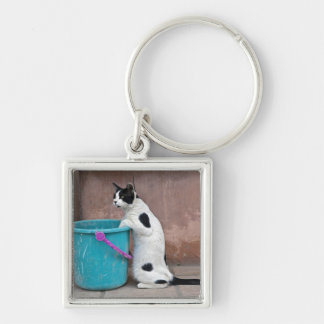 Cat and bucket, Chania, Crete, Greece Keychains