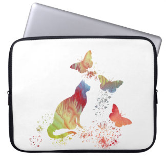 Cat and butterflies laptop sleeve