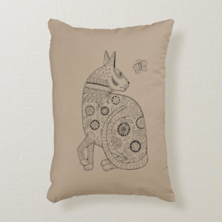 Cat And Butterfly Line Art Design Decorative Cushion
