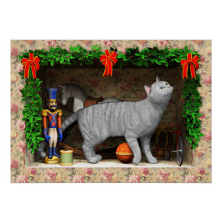 Cat and Christmas stuff Poster