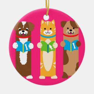 Cat and Dog Bookmarks Ceramic Ornament