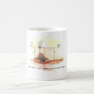 Cat and dog cartoon funny, Scottish Terrier. Coffee Mug