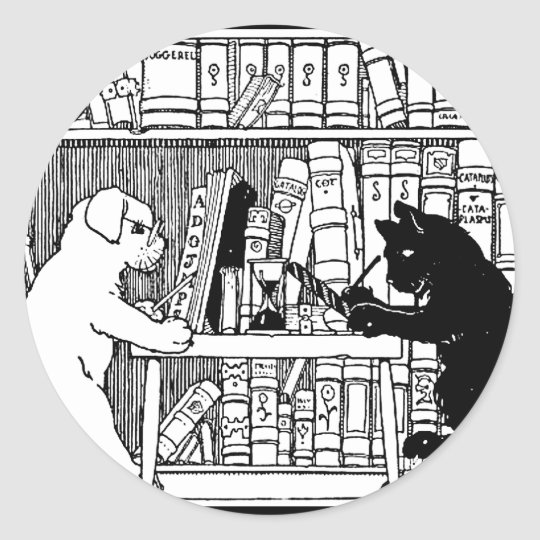 Cat and Dog in the Library Classic Round Sticker