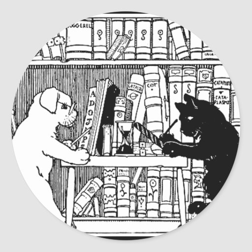 Cat and Dog in the Library Round Sticker