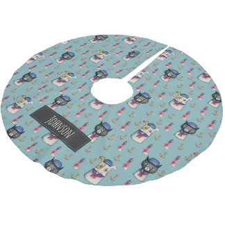 Cat and Dog Nautical Pattern | Add Your Name Brushed Polyester Tree Skirt