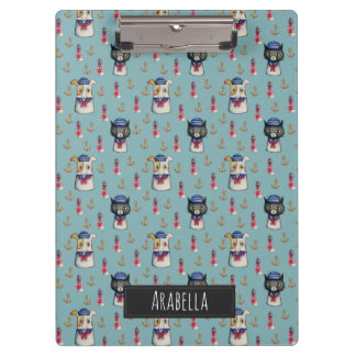 Cat and Dog Nautical Pattern | Add Your Name Clipboard