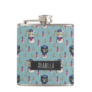 Cat and Dog Nautical Pattern   Add Your Name Hip Flask