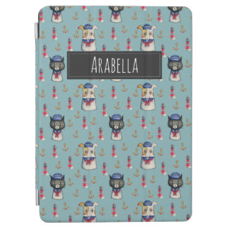 Cat and Dog Nautical Pattern | Add Your Name iPad Air Cover
