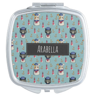 Cat and Dog Nautical Pattern | Add Your Name Mirrors For Makeup