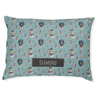 Cat and Dog Nautical Pattern | Add Your Name Pet Bed