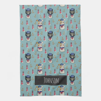 Cat and Dog Nautical Pattern | Add Your Name Tea Towel