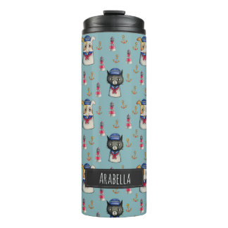 Cat and Dog Nautical Pattern | Add Your Name Thermal Tumbler