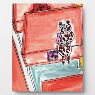 Cat and Dog on School Bus Photo Plaque