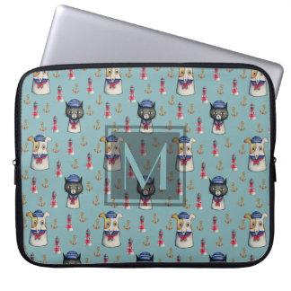 Cat and Dog Sailors Nautical Pattern   Monogram Laptop Sleeve