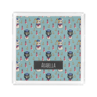 Cat and Dog Sailors Watercolor Pattern with Name Acrylic Tray