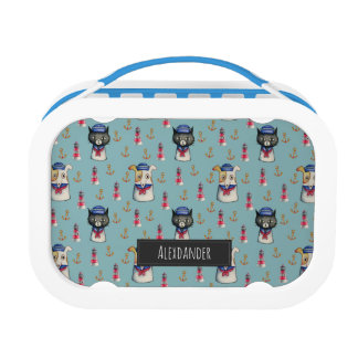 Cat and Dog Sailors Watercolor Pattern with Name Lunch Box