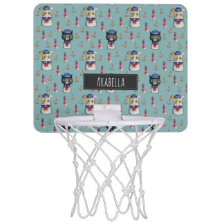 Cat and Dog Sailors Watercolor Pattern with Name Mini Basketball Hoop
