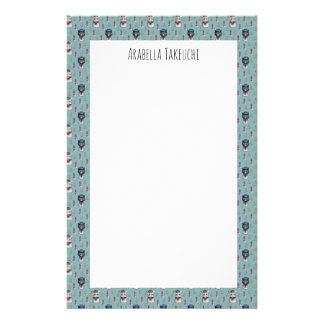 Cat and Dog Sailors Watercolor Pattern with Name Stationery