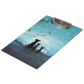 Cat and dogs Winter Sunset Clipboard