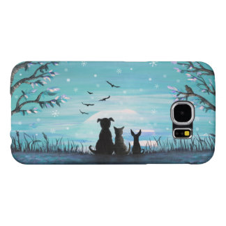 Cat and dogs Winter Sunset Samsung Galaxy S6 Cases