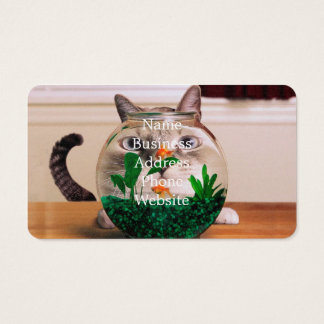 Cat and fish - cat - funny cats - crazy cat business card
