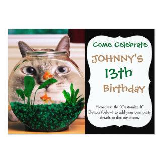 Cat and fish - cat - funny cats - crazy cat card
