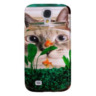 Cat and fish - cat - funny cats - crazy cat galaxy s4 case