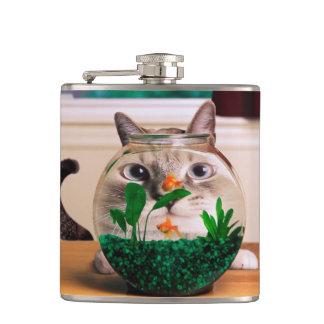 Cat and fish - cat - funny cats - crazy cat hip flask