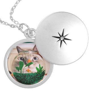 Cat and fish - cat - funny cats - crazy cat locket necklace