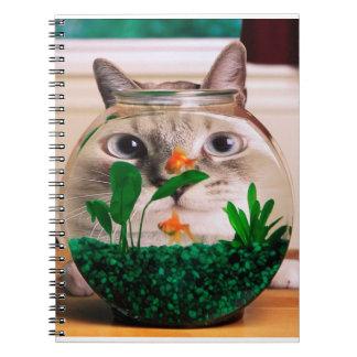 Cat and fish - cat - funny cats - crazy cat notebook