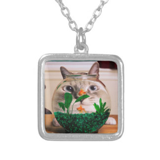 Cat and fish - cat - funny cats - crazy cat silver plated necklace