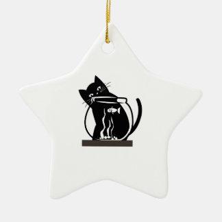 Cat and Fish Ceramic Star Decoration