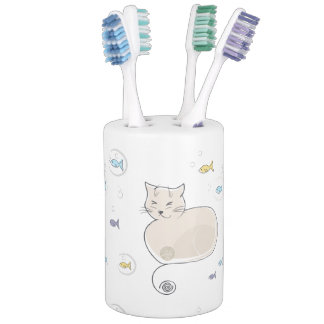 Cat and Fish Toothbrush Holders