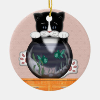 Cat and Fishbowl Ornament