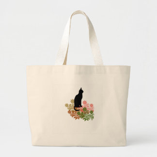 Cat and flower jumbo tote bag
