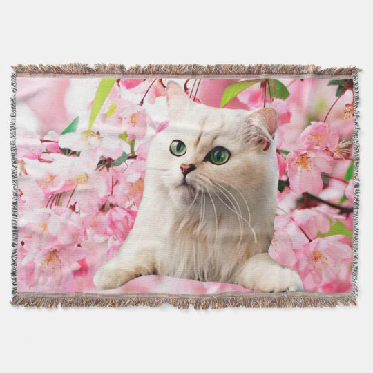 Cat and Flowers Throw Blanket