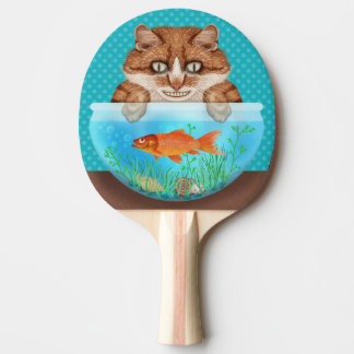 Cat and Goldfish Bowl Funny Hungry Grinning Kitty Ping Pong Paddle