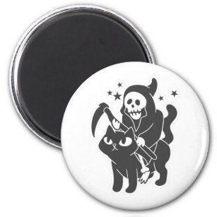 Cat and grim reaper magnet