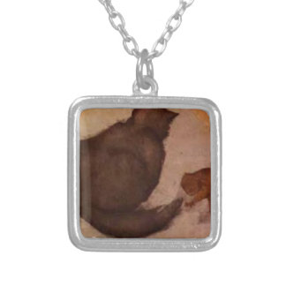 Cat and Kitten by Edward Burne-Jones Square Pendant Necklace