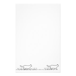 Cat and kitten outline and paw prints stationery