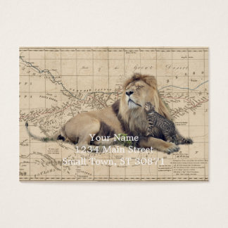 cat and lion - africa map - felines business card