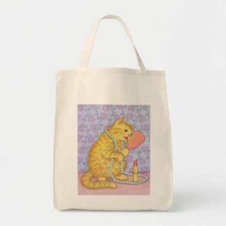 CAT and lipstick Grocery Tote Bag