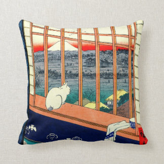 Cat and Mount Fuji 1857 Cushion