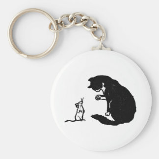 Cat and Mouse Artwork Basic Round Button Key Ring