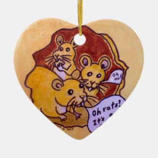 Cat and Mouse Ceramic Heart Decoration