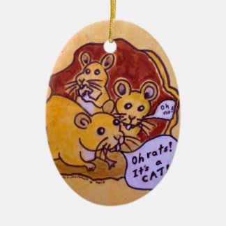 Cat and Mouse Ceramic Ornament