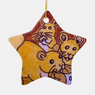 Cat and Mouse Ceramic Star Decoration