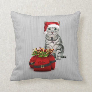 Cat and Mouse Christmas Monogram Throw Pillow