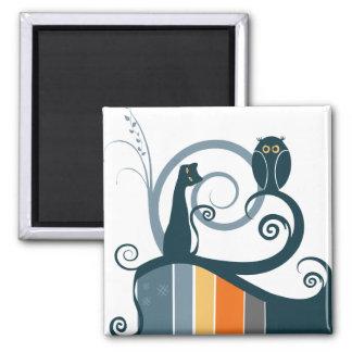 Cat and Owl Original Design Square Magnet